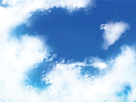 푸른 하늘 배경 프레임 5