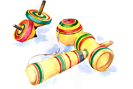 Kendama and coma watercolor paintings