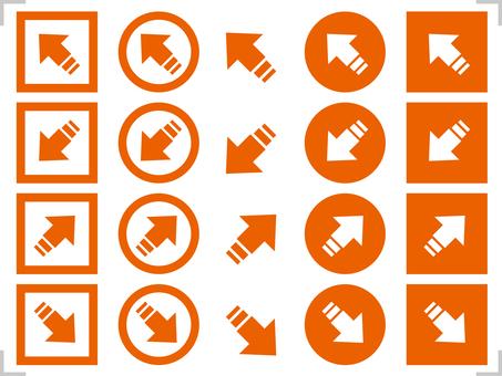 Arrow icon 45 degrees diagonal set orange