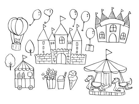 Amusement park (line drawing)