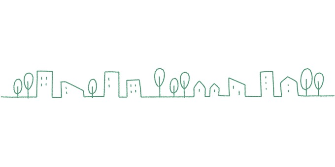 City skyline _ hand-painted _ green