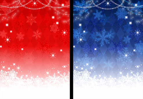 Two winter Christmas snowflake glitter backgrounds