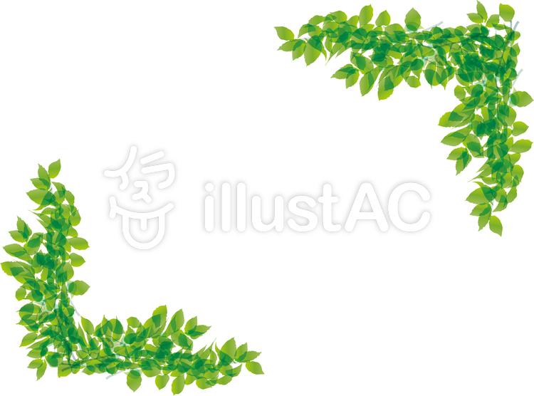グリーンフレーム葉っぱ植物自然エコecoのイラスト