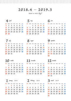 2018 - 2019 Calendar _ A 4