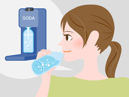 A woman drinking carbonated water