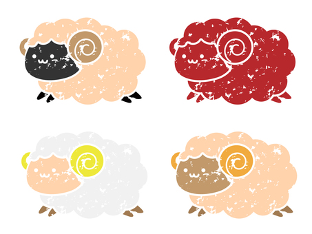 Stamp-style sheep