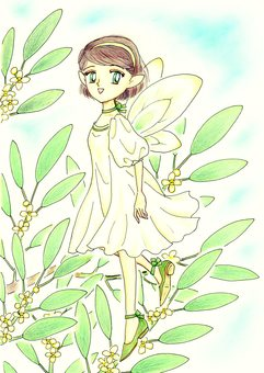Olive hand painted fairy