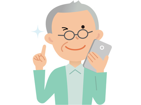 60416. Senior male, smartphone
