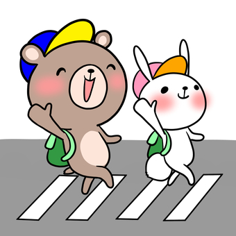 Traffic Safety Bears and rabbits crossing the pedestrian crossing