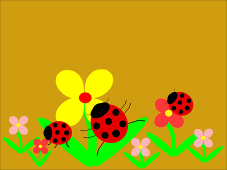 Small cute flowers and ladybugs