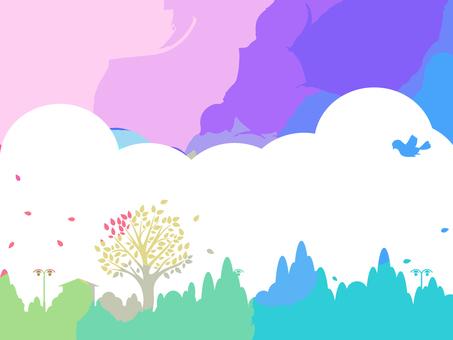 Colorful scenery silhouette