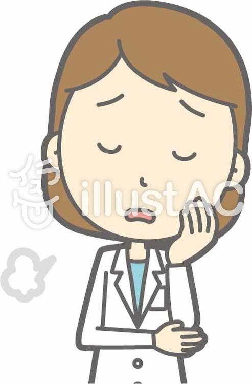栄養士女性a-ため息-バストのイラスト