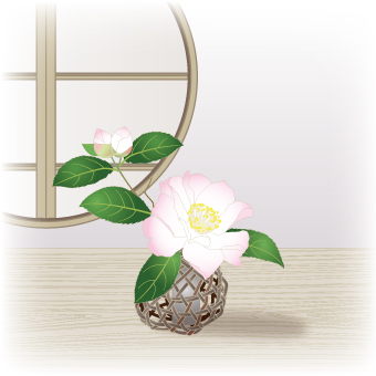 Flowers Rock _ Forest basket with mountain tea flower _ White