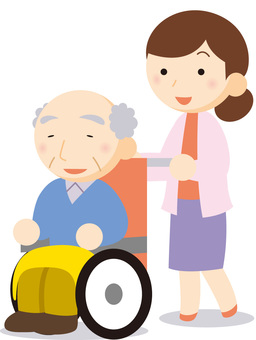 Wheelchair old man and woman
