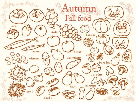 Fall ingredients various line drawings