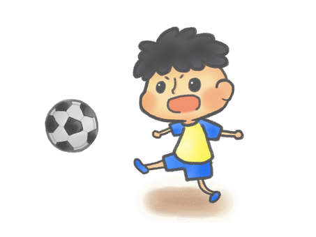 A child playing soccer