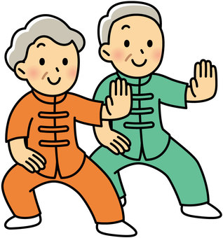 Senior man and woman who plays Tai Chi