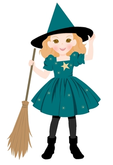 Witch's Costume Blue Green