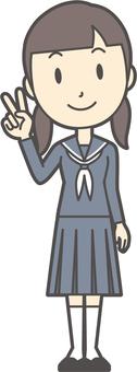Junior high school sailor woman -101-whole body