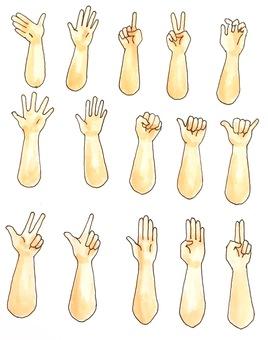 Various hand gestures