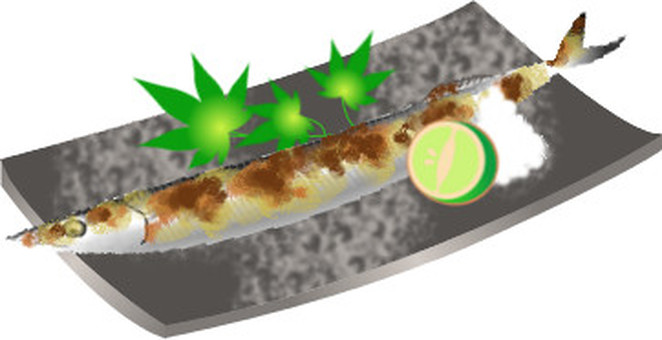 Salami grilled saury