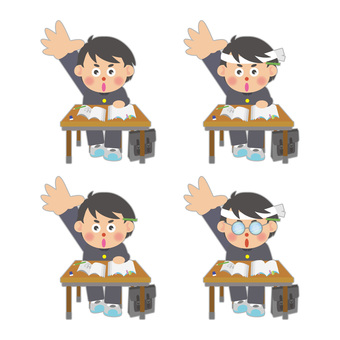 Male student illustration assortment set raising hands