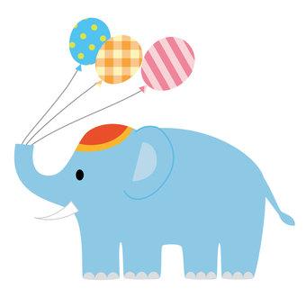 An elephant with a balloon