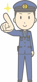 Policeman male a - finger pointing confirmation - whole body