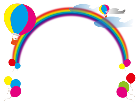 Balloon, rainbow and balloon frame