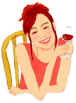 레드 와인을 마시는 여성