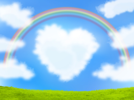 Heart shaped clouds, blue sky, rainbow and grassland - Irare