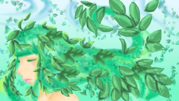 Green leaf girl