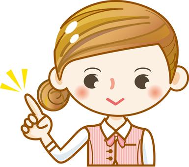 Female girl pretty cute little clerk finger pointing office worker