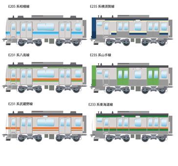 Commuter train E233 other short front car 2