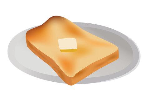 접시에 실린 식빵