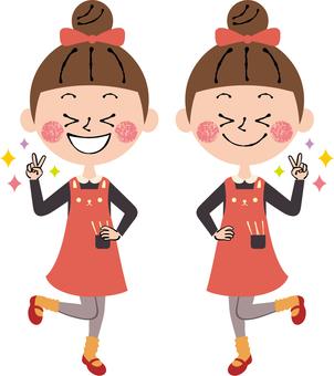 Peace Boysign girls long sleeve whole body