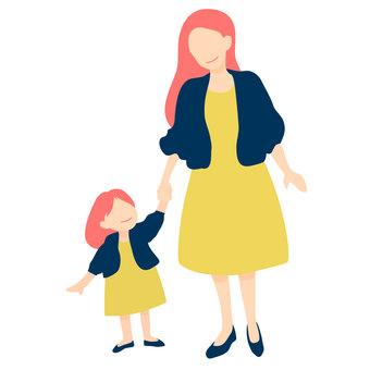 時尚的母親和女兒
