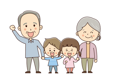 Grandfather with Otanchan with a grandmother