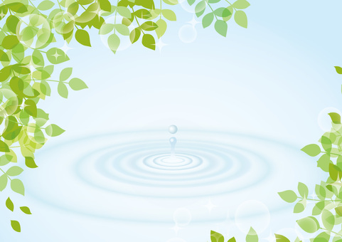 Background material with leaves and ripples