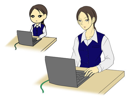 A serious woman in front of a computer