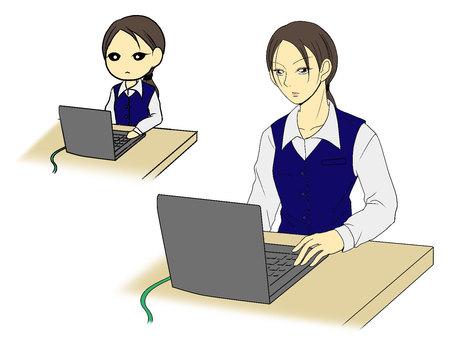컴퓨터 앞에서 정색 여성