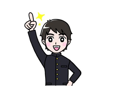 School run boy student pointing up