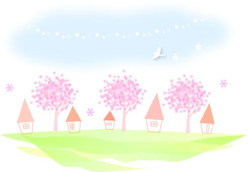 벚꽃 나무가있는 풍경