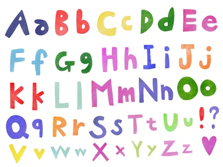 Colorful alphabet capital letters and lower case letters