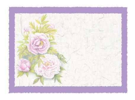 Peony and Japanese paper card ★ 0069-F