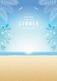 Summer seaside background frame Decorations of flowers and leaves