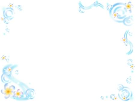 Plumeria × water frame (blue)