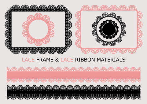 Lace frame & ribbon material 1