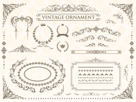 Vintage ornament set 04