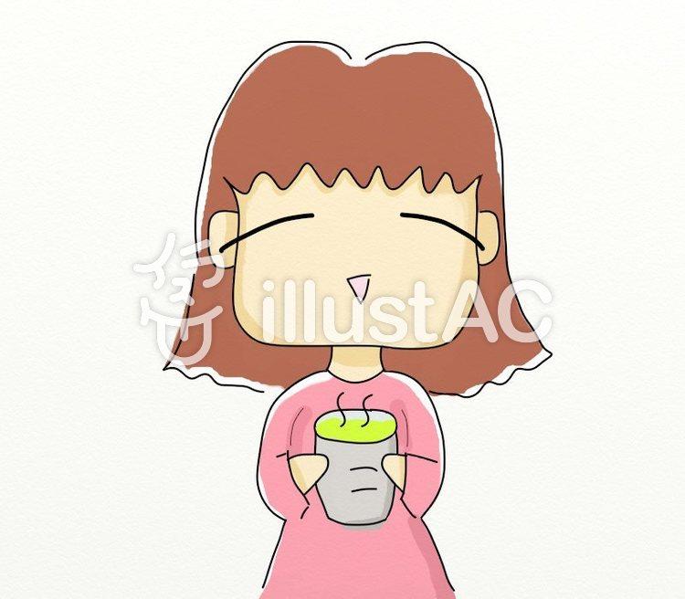 日本茶を飲んで、癒しの時を満喫する女性時のイラスト